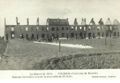 maisons incendiées le 24 aout 1914 Tournai