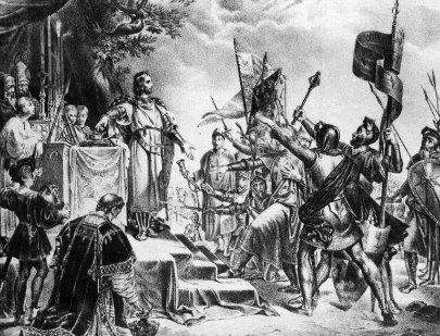 Pgilippe Auguste lors de la bataille de Bouvines